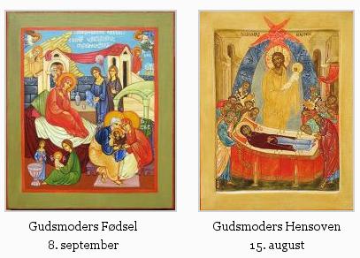 Ikoner af Gudsmoders Fødsel og Gudsmoders Hensoven