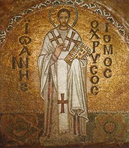 Mosaik af hellige Johannes Chrysostomos fra Hagia Sophia i Konstantinopel