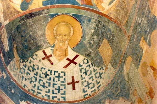 Fresko af Hl. Nicholas Undergøreren, biskop af Myra, fra Ferapontov-klosteret i Rusland.
