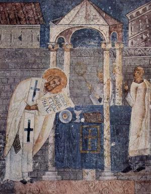 Fresko af hellige Basilios den Store, fra hellige Sophias Kirke i Ohrid, Makedonien.