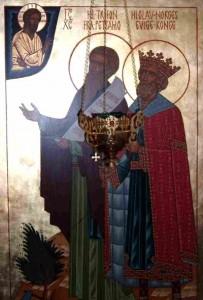 Ikon af hellige Olav, konge af Norge og hellige Trifon af Petsamo