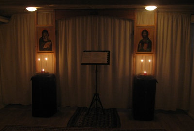 Kirkerummet i Gudsmoders Beskyttelses Menighed ved indledningen af Den Store Faste 2013