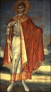 Freske af hellige Martyr Diomedes af Tarsus i Hilandar-klosteret på Athos.