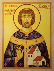 Ikon af hellige Ansgar. Tilvirket af Nana Quparadze.