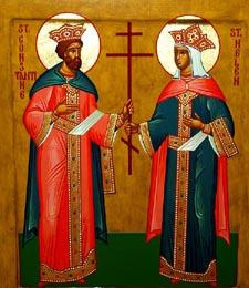Ikon af Hellige kejser Konstantin den Store, lige med apostlene og hellige Helene, hans moder