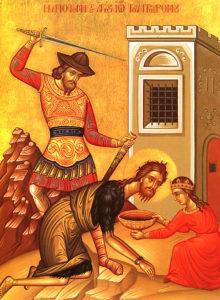 Ikon af halshuggelsen af helige og herliggjorte profet og forløber Johannes Døberen