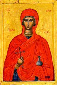 Ikon af hellige Myrrabærer Maria Magdalene, Apostlenes Lige