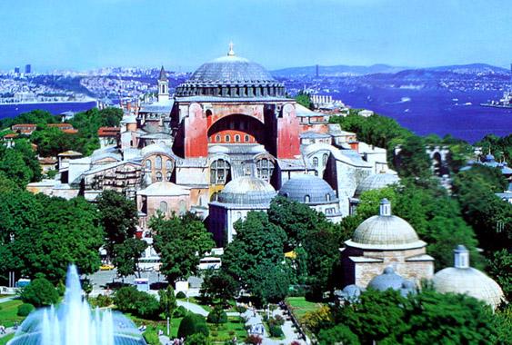 Hagia Sophia med minareterne retoucheret væk